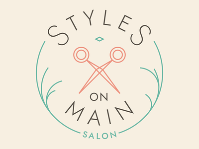 Styles On Main Logo lines strokes flat teal peach circular circle badge logo scissors salon hair