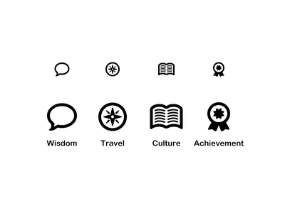 Advice Icons set flat vector minimal achievement award book compass navigation bubble speech icons