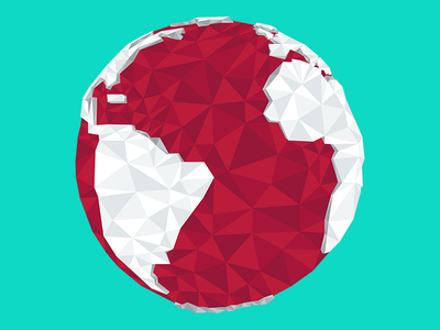 Low Poly Earth icon abstract simplified red vector space planet world earth triangle polygon low poly