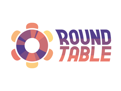 Round Table Logo vector ring donut flat pink purple typography graph pie circle icon logo
