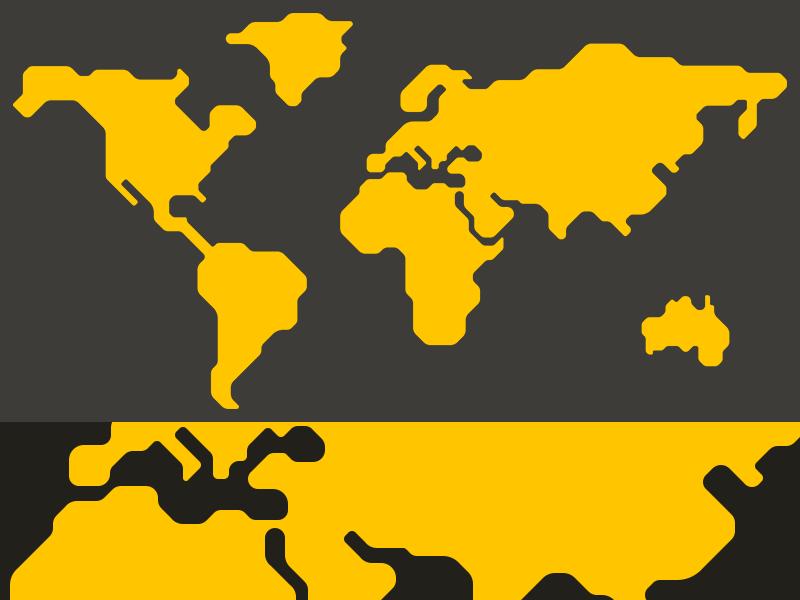 Stylized Map futuristic orange yellow simple minimal vector technological tech map world custom stylized