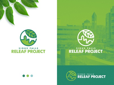 City of Sioux Falls | Releaf Project Logo logo designs leaf icon vector city branding logo design lineart typography south dakota sioux falls line art