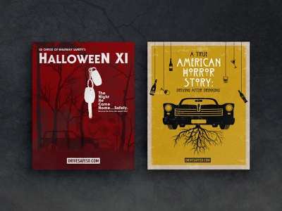 SD Office of Highway Safety / Halloween Print Ads branding poster design safety horror movie vector illustrator illustration spooky halloween print poster