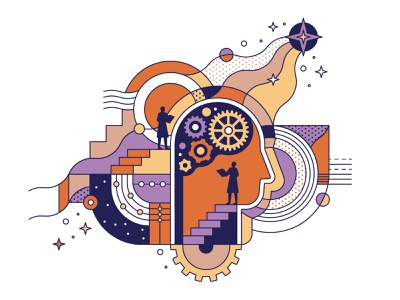 Psychology Course illustraion psychology cosmic future system minde brain machine mechanism mechanic wave science stars human technology development education course lineart pattern