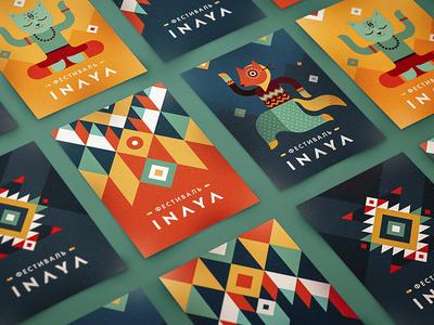 INAYA Festival identity tribal pattern ethnic hippie flyer dance yoga cat fox character ornament