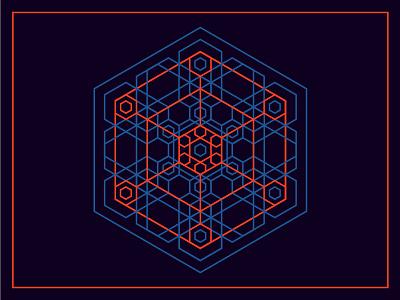 Hexagon mandala snowflake digital light neon psy psychedelic geometry mandala hexagon
