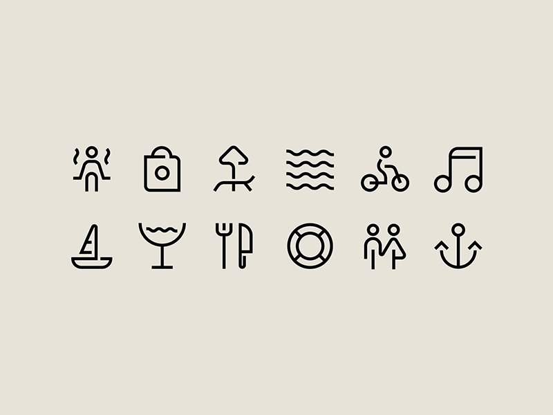 Icons for Spotlight Festival identity pictogram icons bar club ocean sea identity info graphic infographics icon navigation