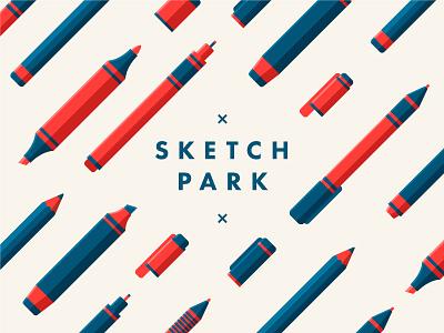 Scetch Park pattern liner marker school pen flat pencil drawing park sketch