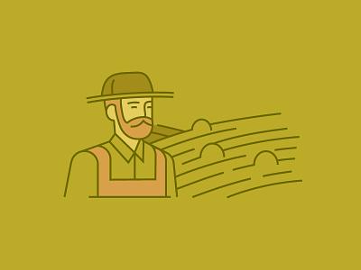 Icon for Annual Report nature eco illustration man hat beard wheat field farmer farm icon