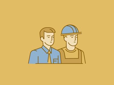 Icon for Annual Report character tie helmet illustration partners build office man icon