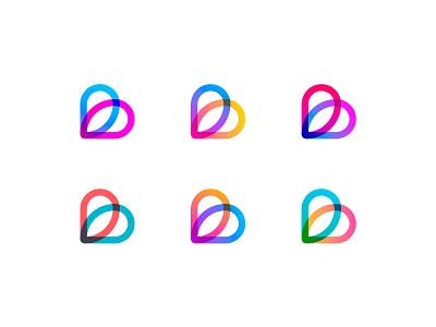 Boksi sweet app love logo bright logotype heart gradient colors