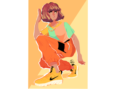 Yellow Nike Girl nike gold yellow girl nike shoes flat illustration