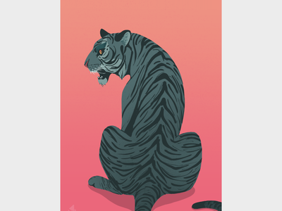 Tiger from Behind graphic art art stripes big cat cool warm blues pink tiger flat illustration