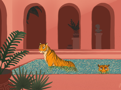 Tigers in the Pool summer print pool pink terracotta tigers tiger graphic art art flat illustration