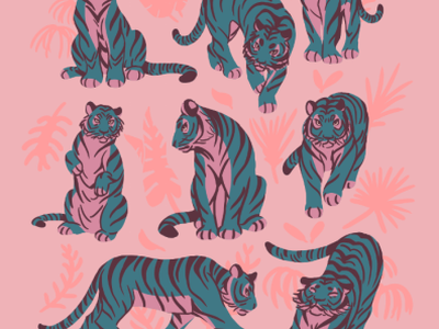 Blue Tigers on Pink print stripes pattern pattern art big cats wild cat tropical leaves blue pink graphic art tiger design flat illustration