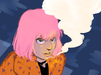 Smoking Girl feminist flat illustration smoke pink hair girl illustration