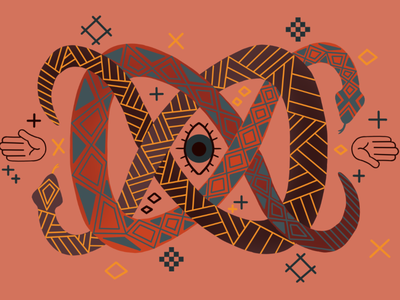 Tied Up in Knots eye snakes geometric flat illustration