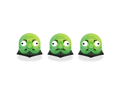 3 Green Heads spirited away design emoji icon illustration
