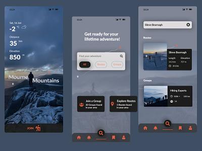 Mourne Mountains mobile app design mobile app mobile ui app design leoraion uidesign uxdesign branding northern ireland figma design consept