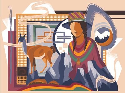 Colors of Bolivia mountain llama indian traditional bolivia illustration art illustration illustrator