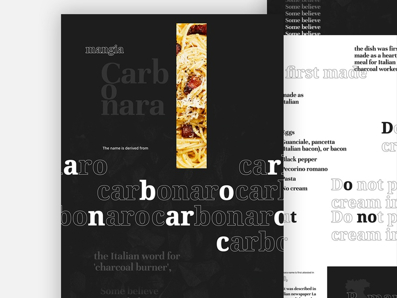 How do you like your Carbonara? design visual design typography website marketing uiux art direction digital design