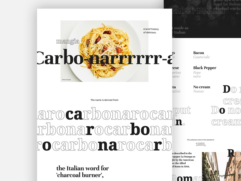 How do you like your Carbonara? branding digital visual design typography website marketing art direction uiux digital design