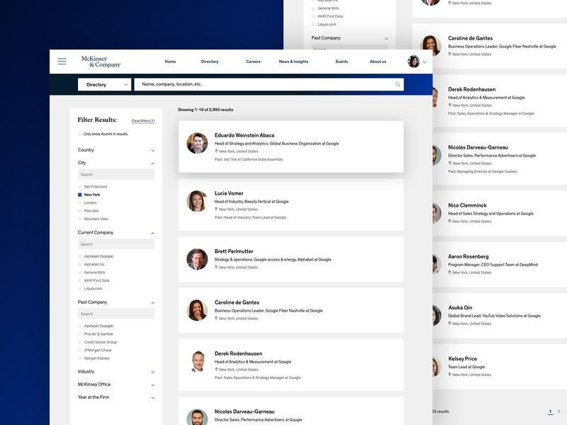 McKinsey - Alumni Directory Refresh branding marketing visualdesign refresh design typography website digital uiux digital design