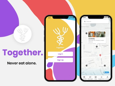 Together. - Never eat alone. iphone phone app phone adobe xd figma product design logo design logo design uxdesign ui ux