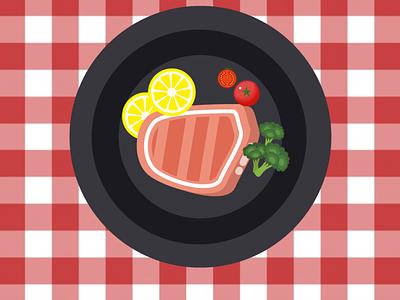 top view of food dish limon broccoli tomato steak ai vector illustrator design food illustration food