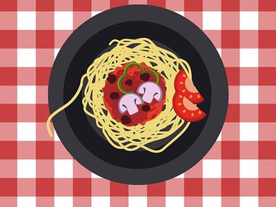 top view of spaghetti dish tomato mushroom ai illustrator design vector dish spaghetti spaghetti dish top view top view of spaghetti dish