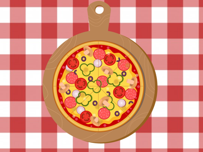 top view of pizza dish ai vector illustrator design top view dish pizza