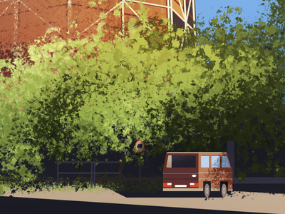 WI-MA brush town city illustration scape car