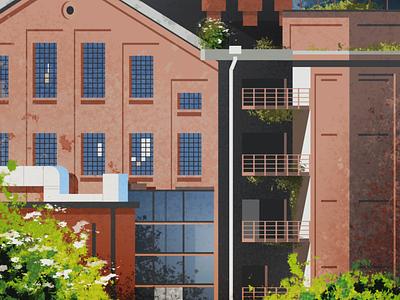 Park Źródliska building architecture illustration poland factory lodz