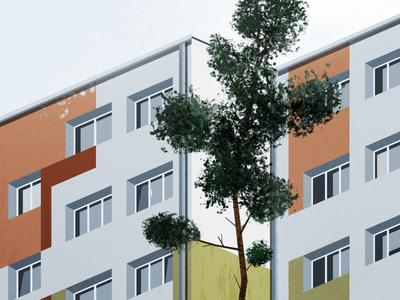 Block elevation city poland apartament illustration architecture