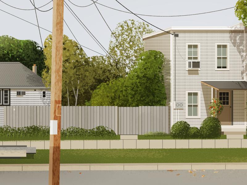 Street view town street architecture illustration