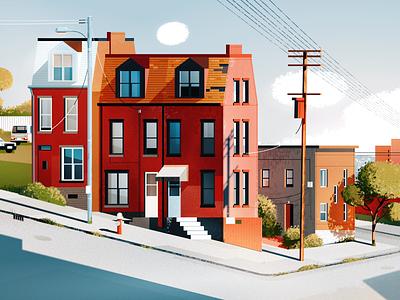 Pittsburgh, PA pennsylvania car city illustration cityscape landscape usa illustration architecture