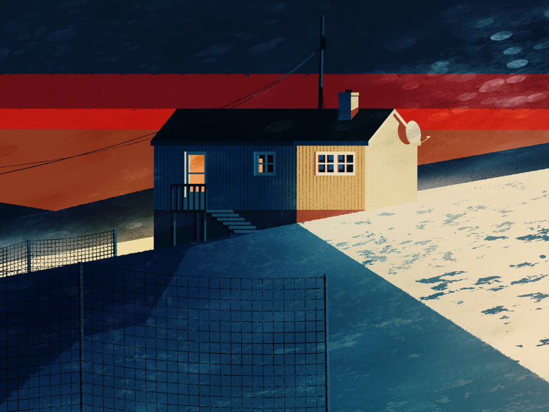 Winter landscape I arctic illustration landscape snow cabin winter