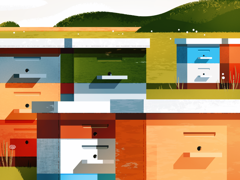 Beehives composition scape geometric illustration landscape hives hive bees bee