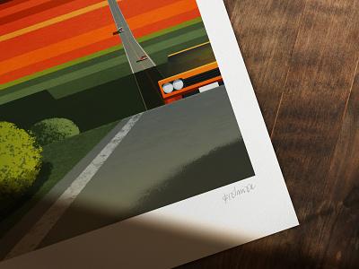 Monument Valley poster print affinity affinitydesigner affinity designer minimalistic geometric cars illustration scape nevada desert landscape usa