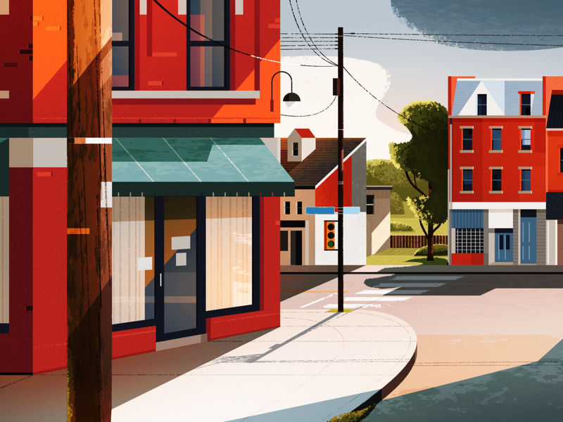 Pittsburgh, PA landscape illustration architecture illustration street usa town city usa city illustration landscape pennsylvania pittsburgh