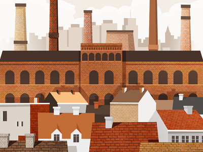Promised Land home houses house architecture factory town city illustration