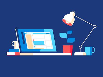 Desktop illustration isometric desk work coffee lamp laptop macbook desktop
