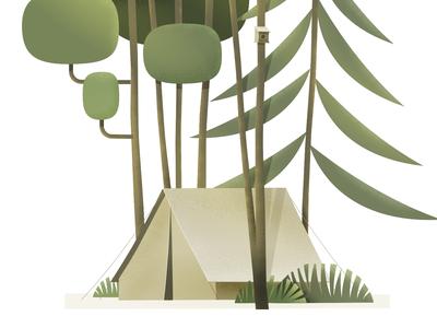 Camp life children art trees woods forest illustration tent camp