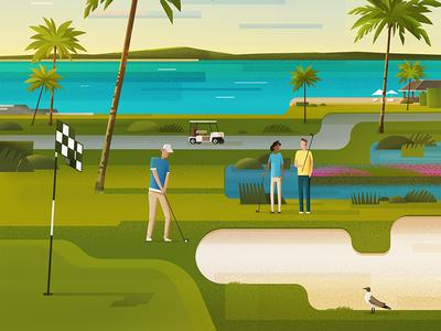 Bahamas #2 island sea ocean scape dawn sport golf nassau bahamas illustration