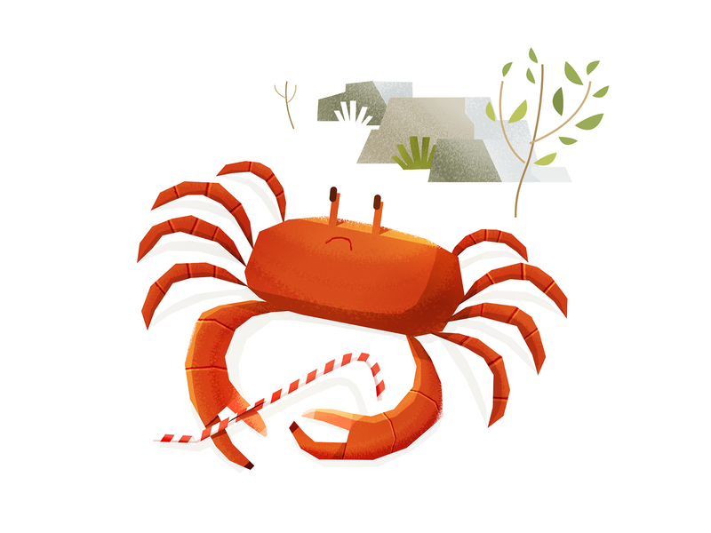 Crab affinitydesigner affinity character design character children kid sad plastic crab illustration