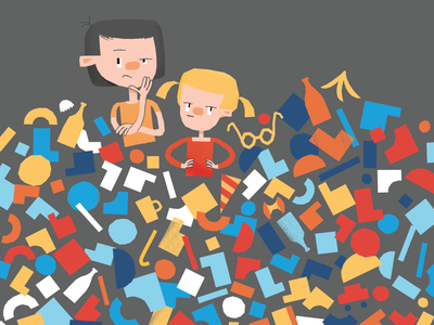 What to do with that hill of trash? global warming warming climate garbage trash girl boy geometric minimal children character illustration