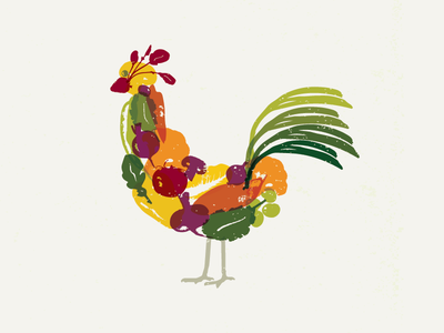Eat Local Chicken vegetables eat local food rooster chicken illustrator illustration