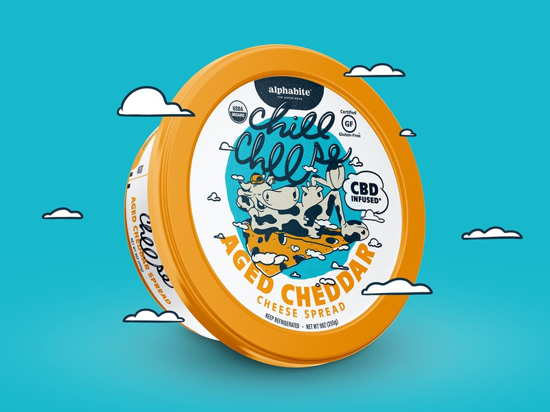 CBD Chill Cheese cpg cheese spread chillin chill cartoon illustration cow label render food packaging cheese cbd