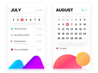 Calendar list gtd gradients simple modern clean white shadow ui app calendar