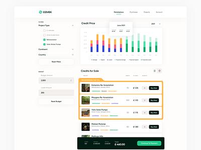 Carbon value exchange Marketplace page marketplace webapp ux web branding ui